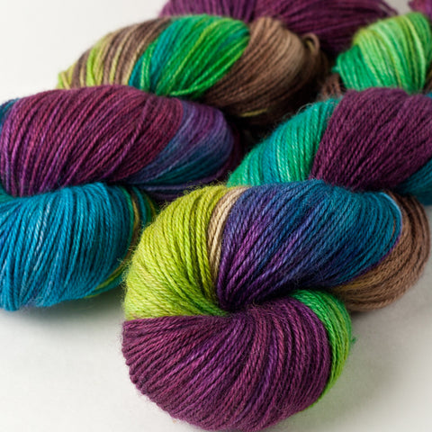 Willow Sock: purple, turquoise, brown, green