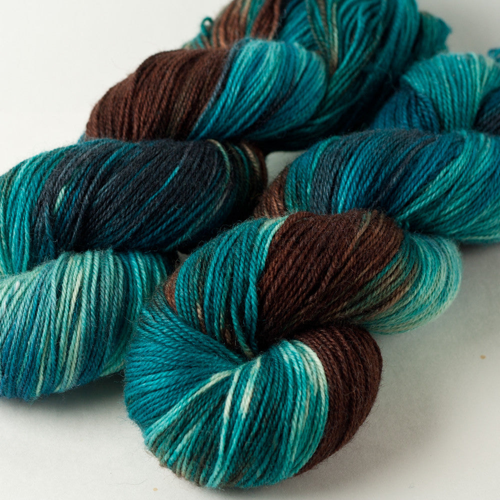 Willow Sock: turquoise, cream, brown, charcoal