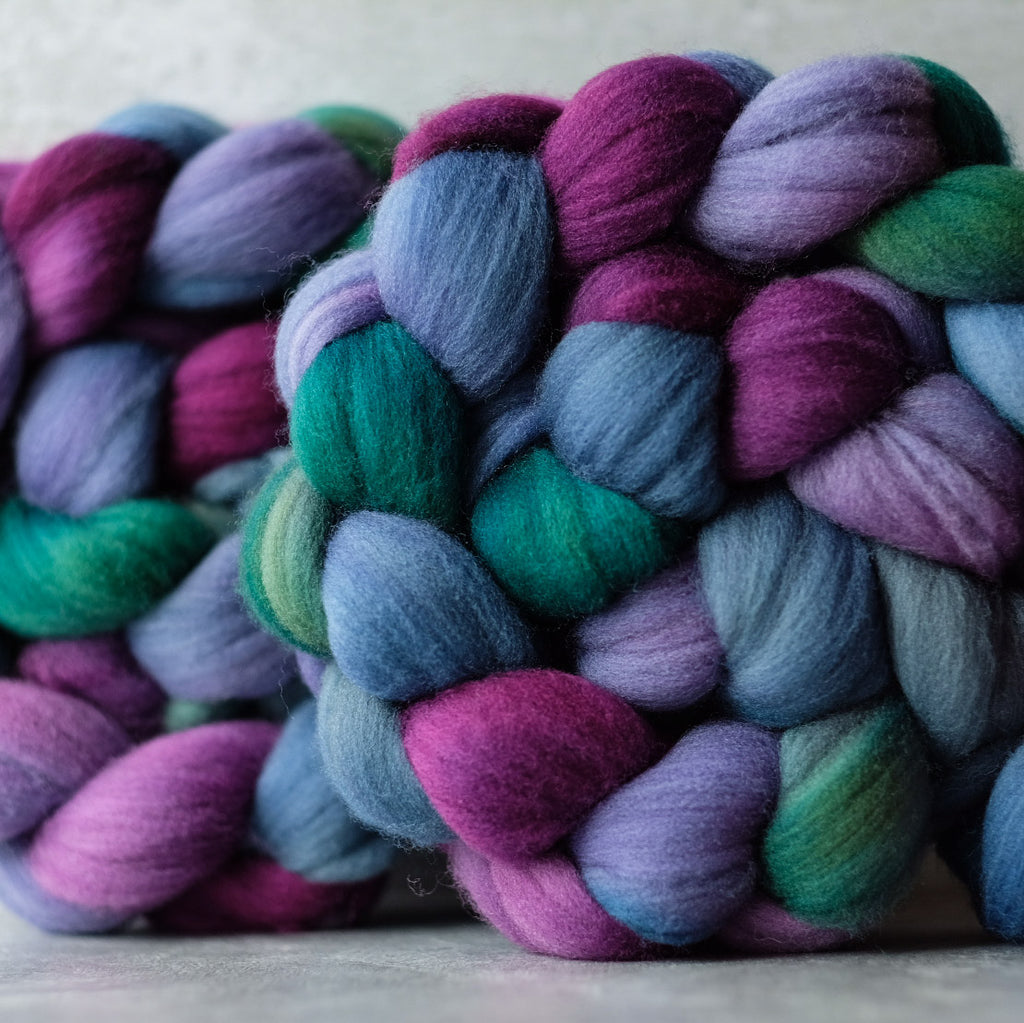 Targhee combed top: teal, purple, blue, green, 4 oz