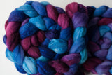 Targhee/silk spinning fiber: raspberry, purple, blue
