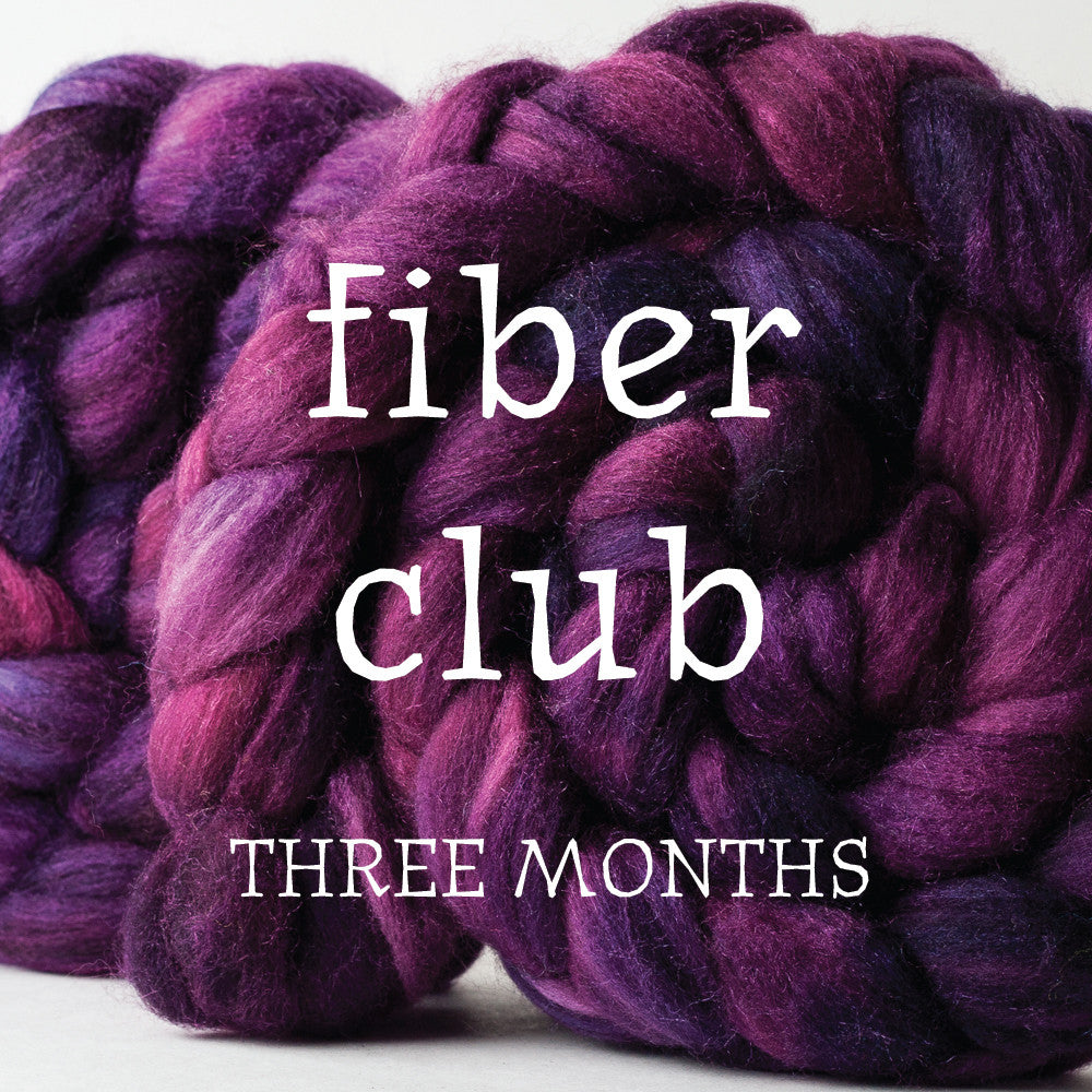 Huckleberry Knits hand-dyed spinning fiber club