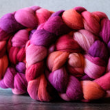 Targhee combed top: pink, peach, purple, 4 oz