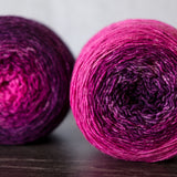 Gradient sock-weight yarn: all the purpley-pinks