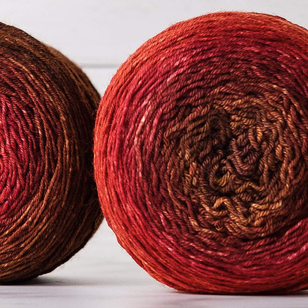 Gradient sock-weight yarn: Embers