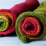 Double-stranded gradient sock blank: Cranberry Autumn