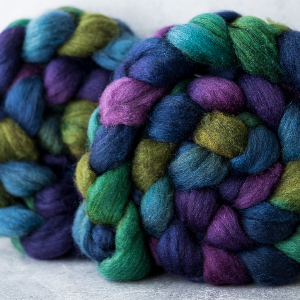 Mixed Blue-Faced Leicester and silk combed top: Dragonfly, 4 oz