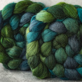 Mixed Blue-Faced Leicester and silk combed top: greens and blues, 4 oz
