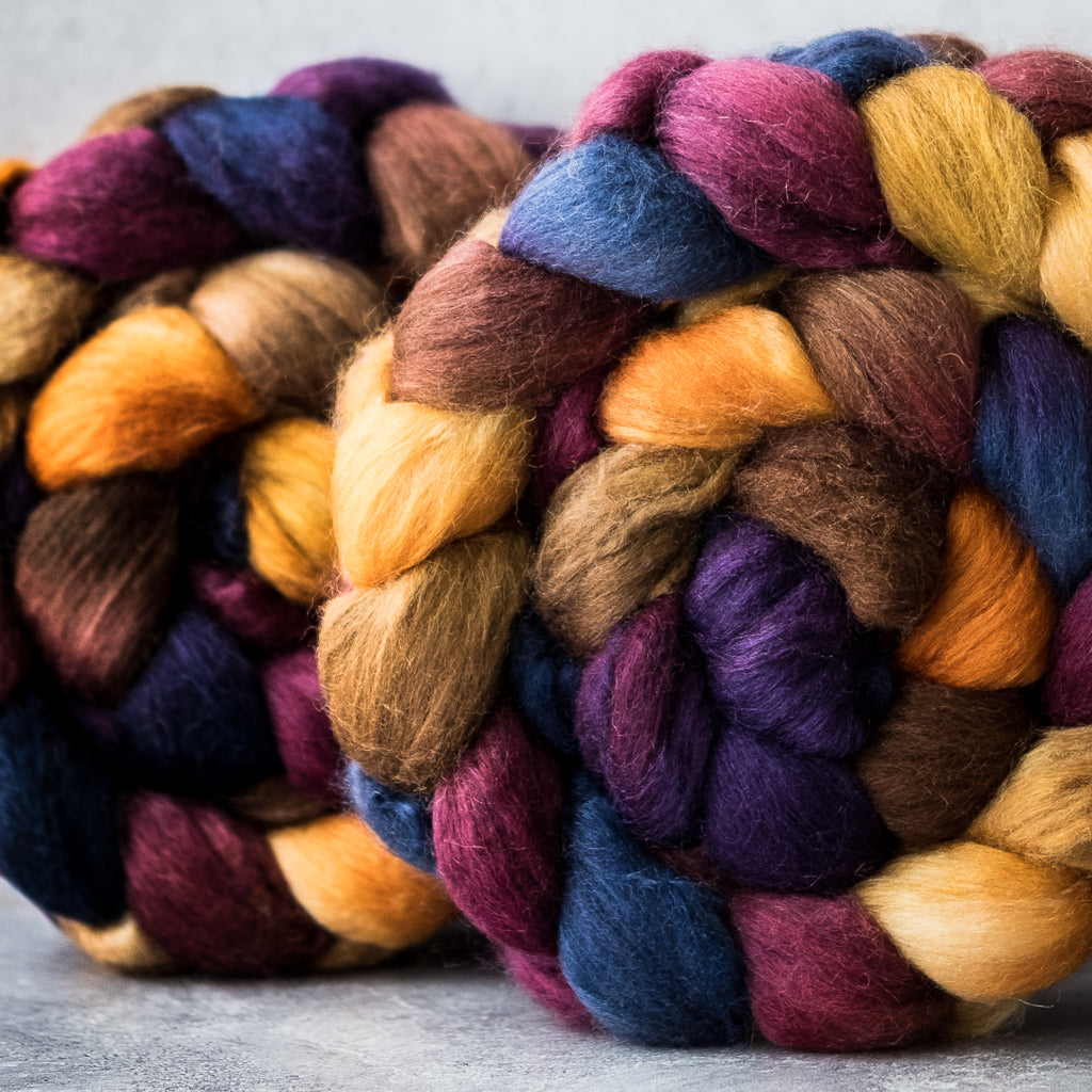 Polwarth/Silk Ultra spinning fiber: Indian Corn, 4 oz