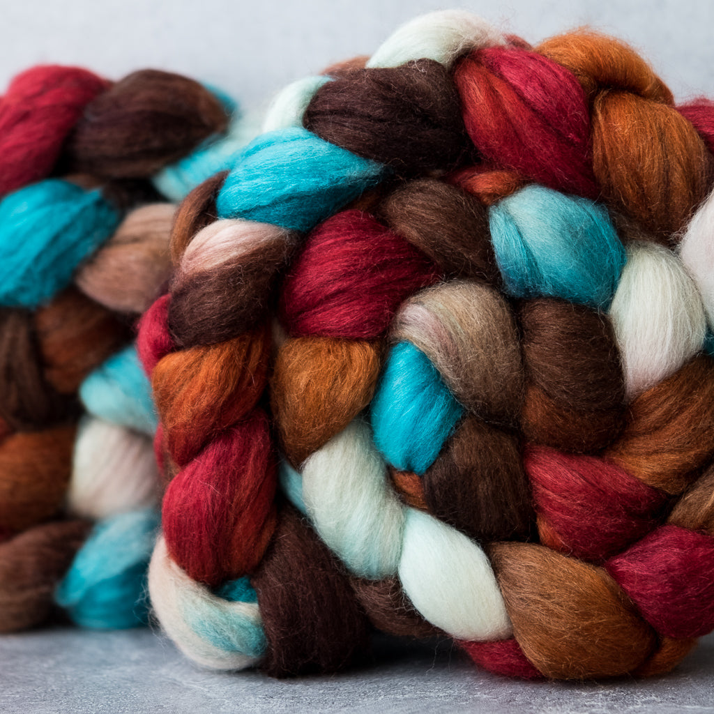 Polwarth/Silk Ultra spinning fiber: Robin's Nest, 4 oz