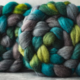 Mixed Blue-Faced Leicester and silk combed top: green, grey, turquoise, 4 oz