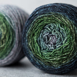 Gradient sock-weight yarn: Weathervane