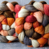 Polwarth/Silk Ultra spinning fiber: burnt orange, apricot, terracotta, 4 oz