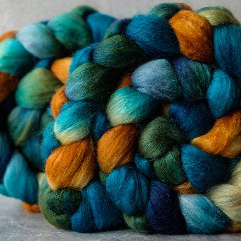 Polwarth/Silk Ultra spinning fiber: Copper Canyon, 4 oz