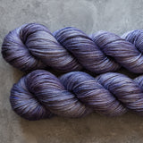 50/50 Silk/Merino: pale lavender with cobalt and grey speckles