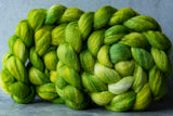 Polwarth/Silk Ultra spinning fiber: Weeping Willow, 4 oz