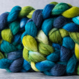 Merino/silk spinning fiber: Peacock, 4 oz
