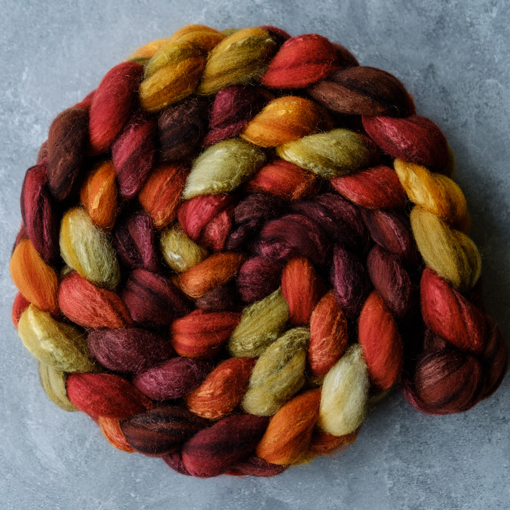 Targhee/silk spinning fiber: Breath of Autumn, 4 oz