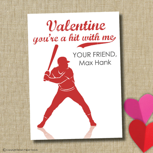 Baseball School Valentine. Instant Download