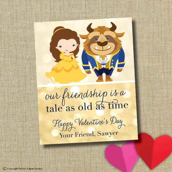Beauty and the Beast School Valentine. Instant Download