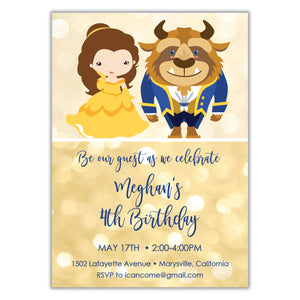 Beauty and the Beast Birthday Invitation