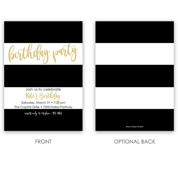 Modern Stripe Birthday Invitation