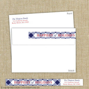 Blue Gingham Labels