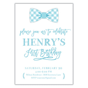 Bow Tie Birthday Invitation
