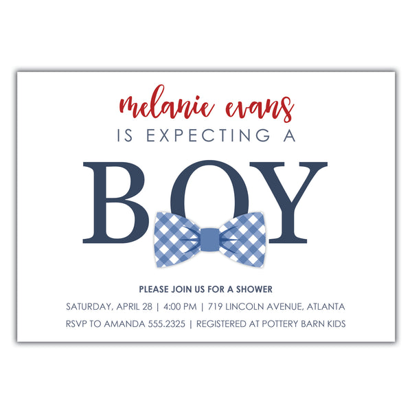 Bowtie Baby Shower Invitation