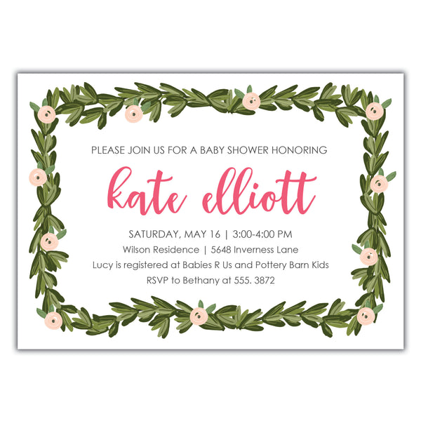 Boxwood Baby Shower Invitation