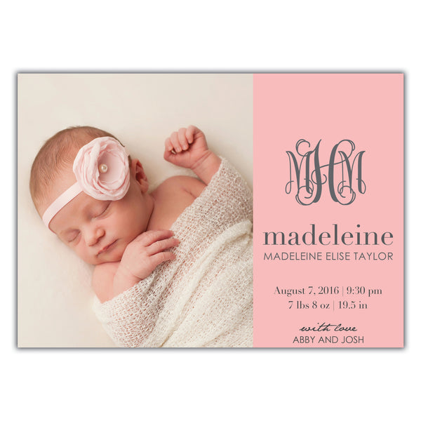 Monogram Birth Announcement
