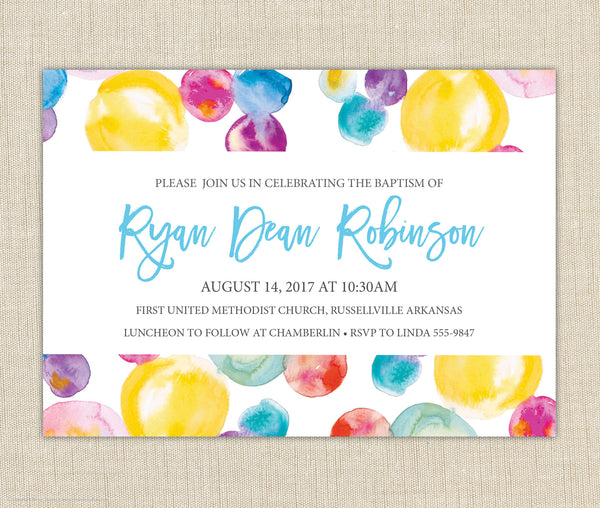 Colorful Baptism Invitation