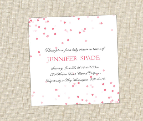 Pink Confetti Shower Invitation