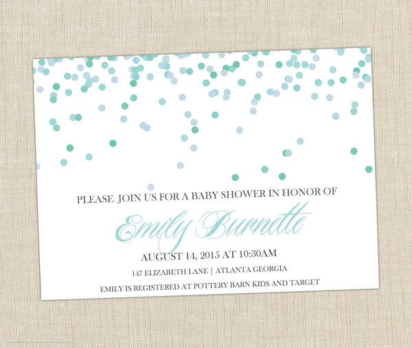 Confetti Baby Shower Invitation