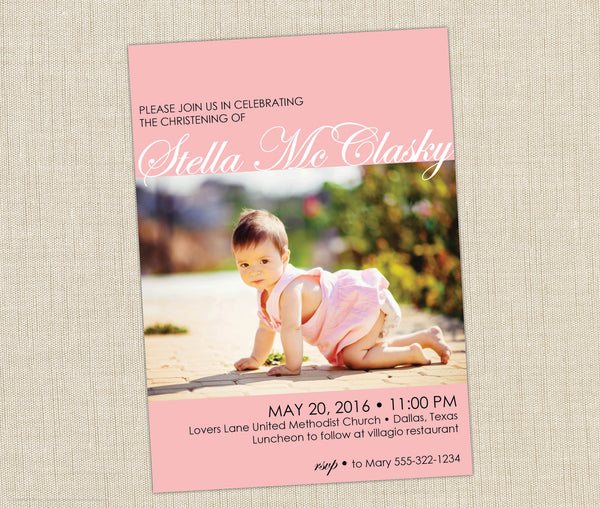 Photo Christening Invitation