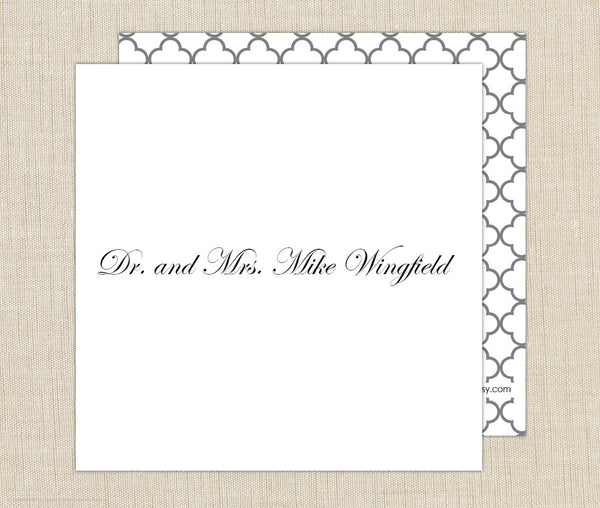 Couples Name Gift Enclosure Cards