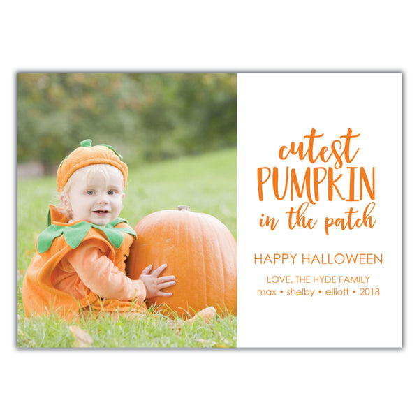 Cutest pumpkin in the patch photo card
