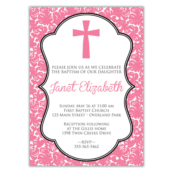 Damask First Communion Invitation