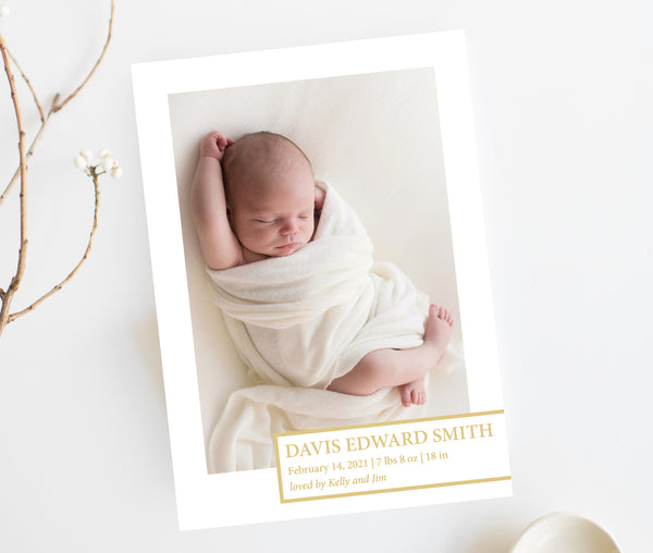 Gold Box Birth Announcement