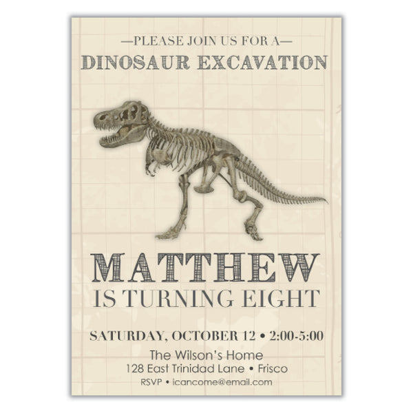 Dinosaur Fossil Birthday invitation