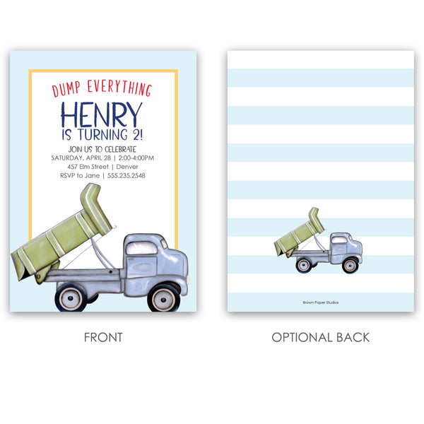 Dump Truck Birthday Invitation