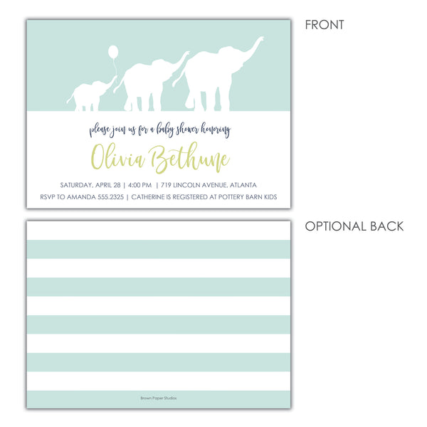 Elephant Baby Boy Shower Invitation
