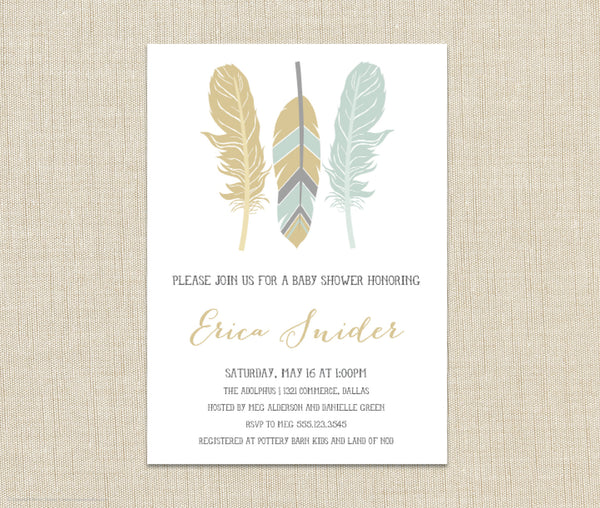 Feather Shower Invitation