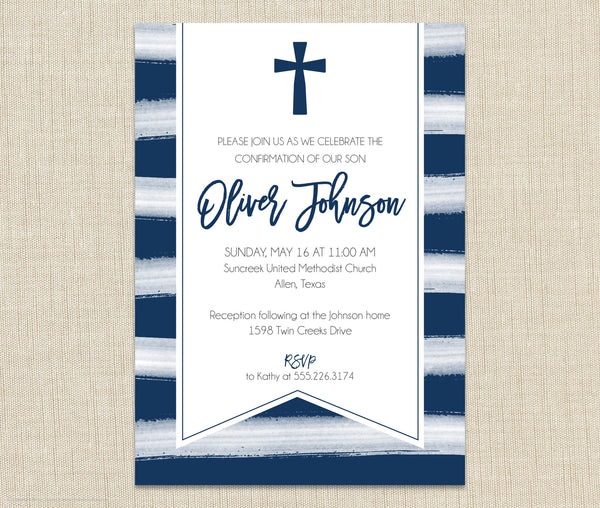 Boy Watercolor Invitation