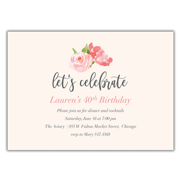 Watercolor Birthday Invitation