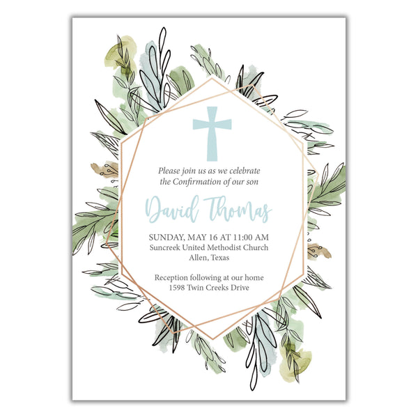 Geometric Baptism Invitation