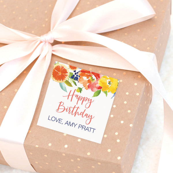 Citrus Birthday Gift Labels