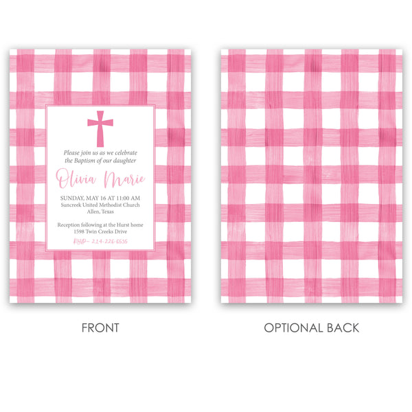 Gingham Girl Baptism Invitation