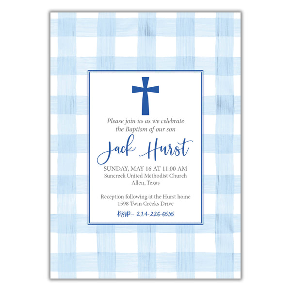 Gingham Boy Baptism Invitation