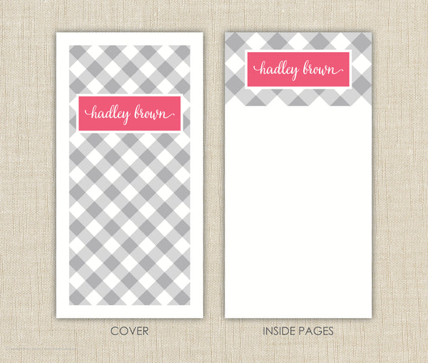 Gingham Personalized Notepad Set