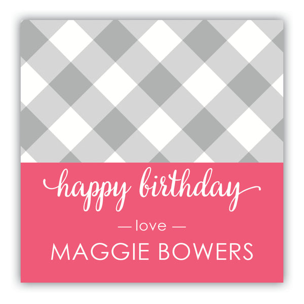 Gingham Birthday Gift Labels